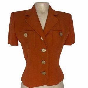 MOSCHINO Rare Vintage Cheap and Chic Orange Short Sleeve Blazer Jacket Size 8